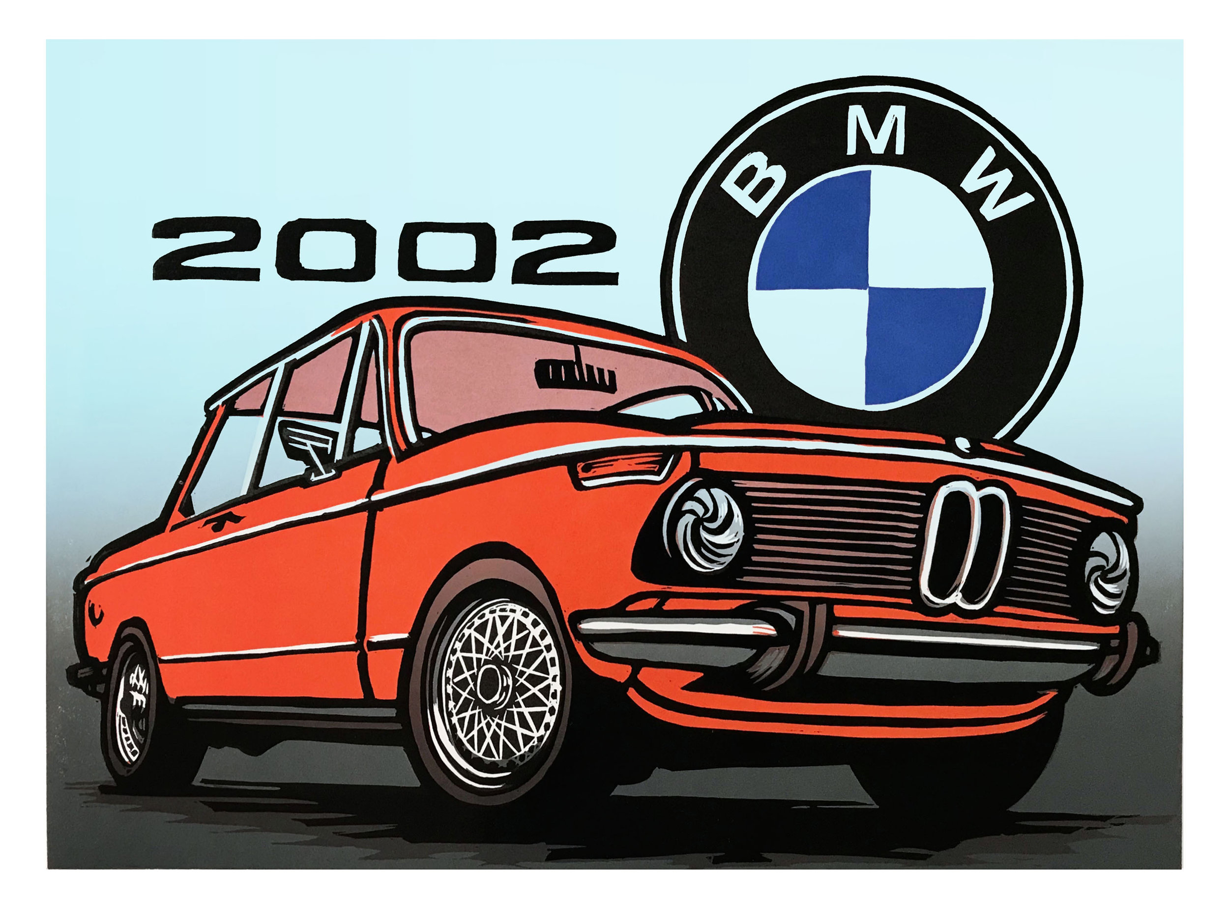 """""""BMW 2002""""   18x24"""" 5 Color Woodcut Print on 135lb Mohawk Paper by Martin Mazorra              Price: $200.00 (unframed) $300.00 (framed)  Edition size: 50"""