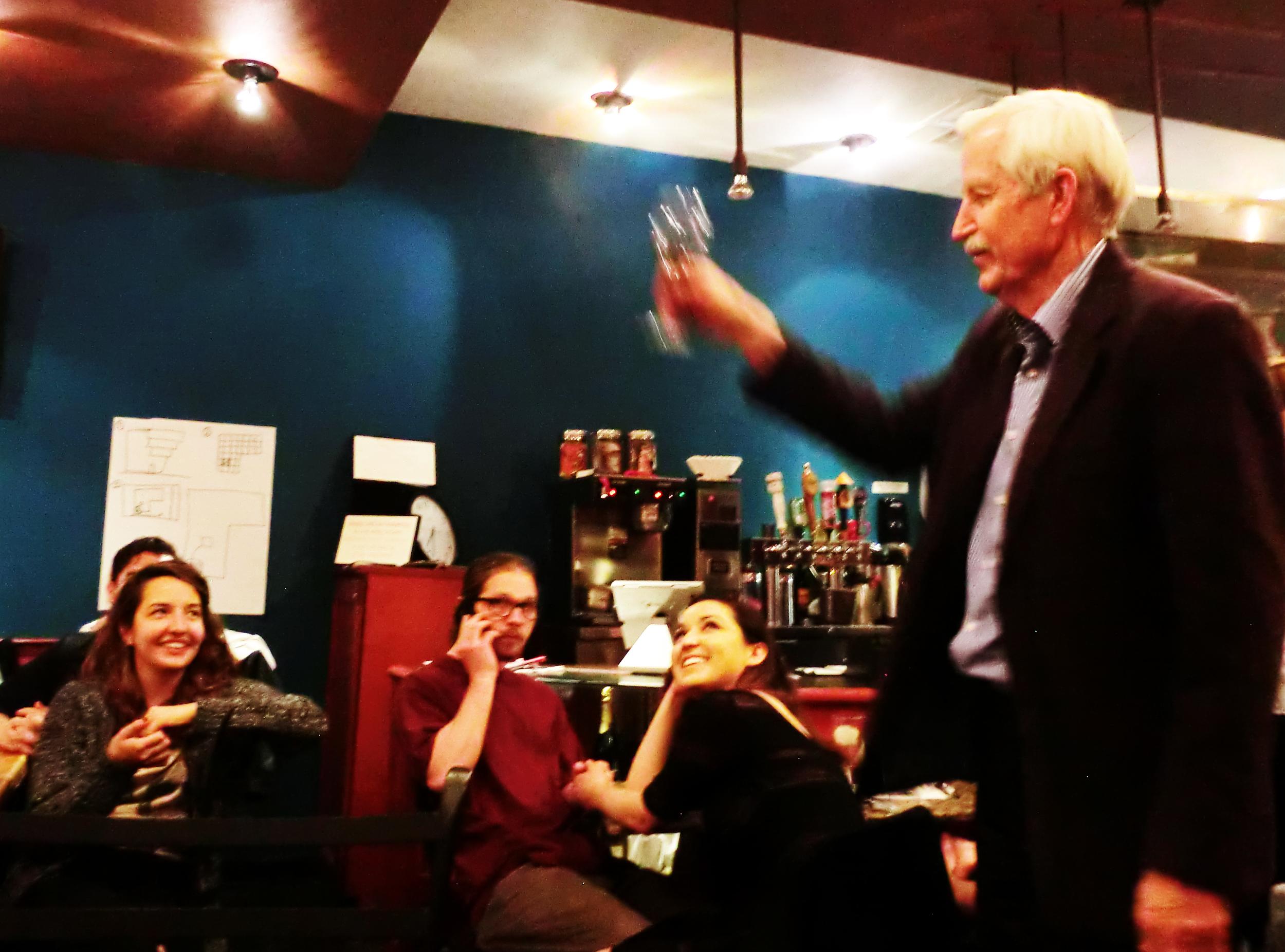 A toast from trivia judge, Roger Schluntz.