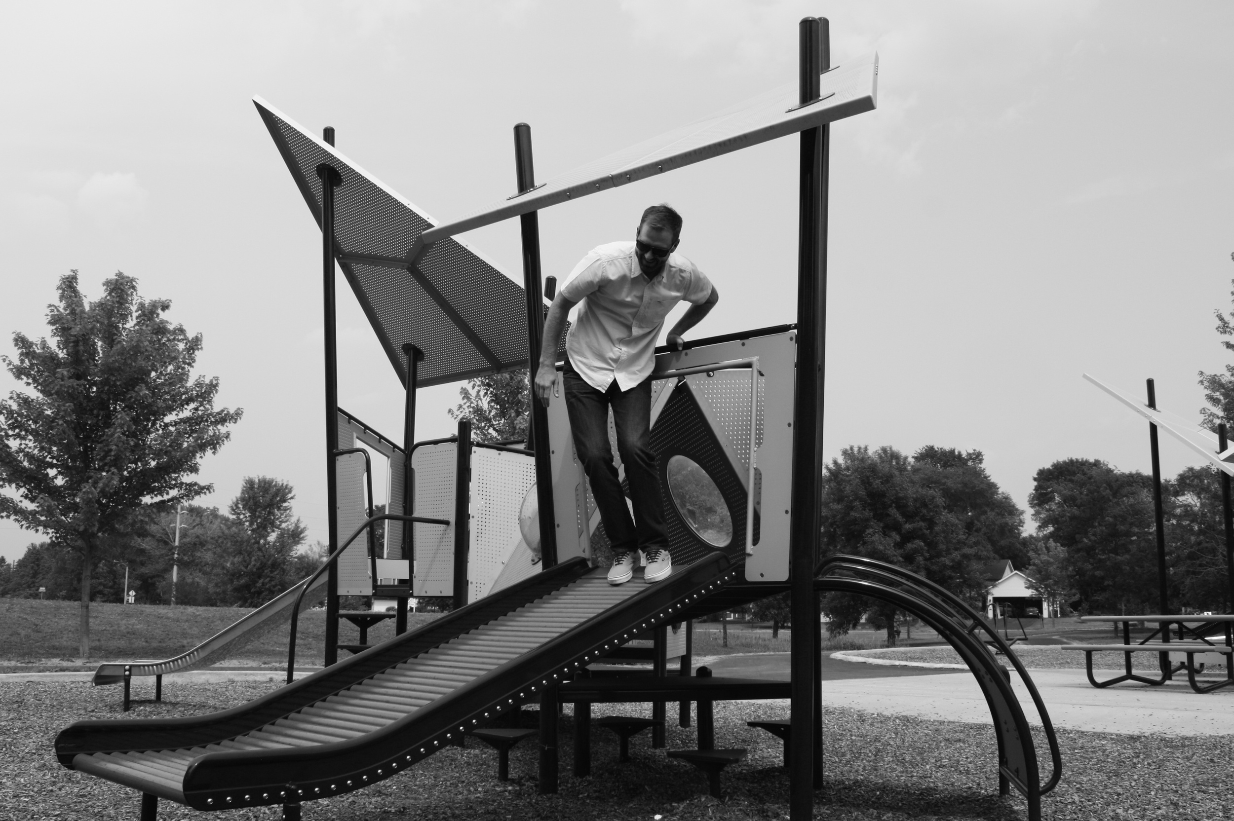 Nate Tierney explores the Barb King Playground in Delano, MN.