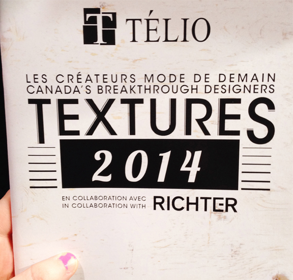 Attended the Telio's Canada's Breakthrough Designers Fashion Show this past week, which I designed the program book for! My day job as graphic designer and merchandising assistant for Telio is always fun and exciting this time of year! (Please ignore my badly manicured nails).