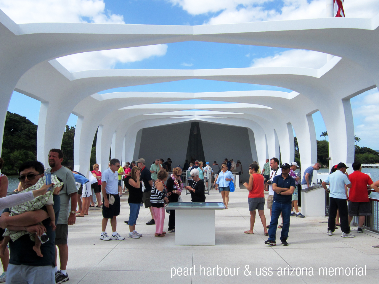 We decided to visit Pearl Harbour as we had a free day during our trip. The USS Arizona Memorial was a really beautiful piece of architecture, set out on the water above where the ship sank and still remains to this day.