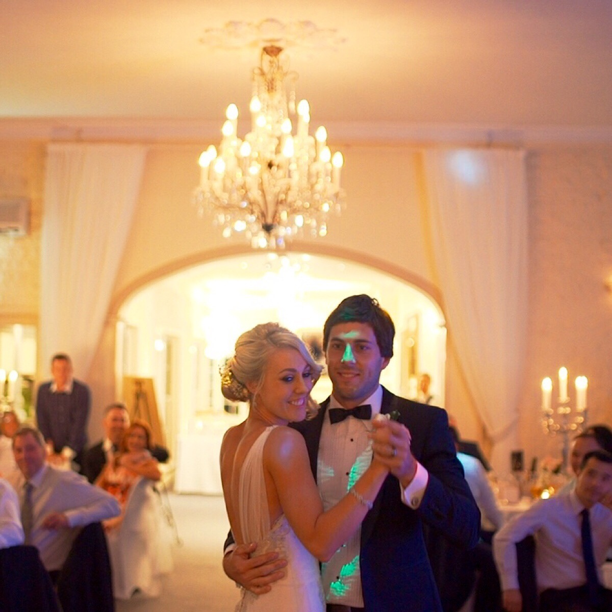Happy young couple dancing on their wedding day