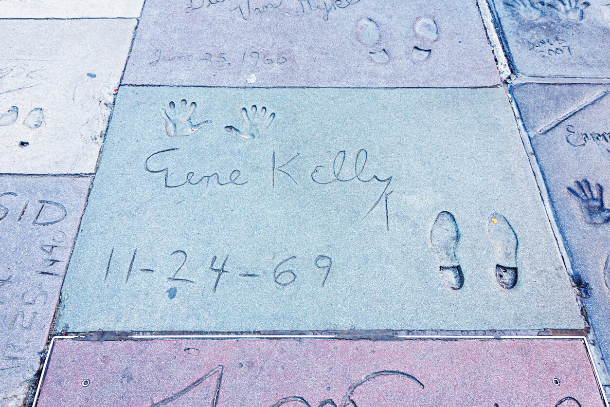 Gene Kelly's handprints and shoe prints outside the Chinese Theatre in Hollywood