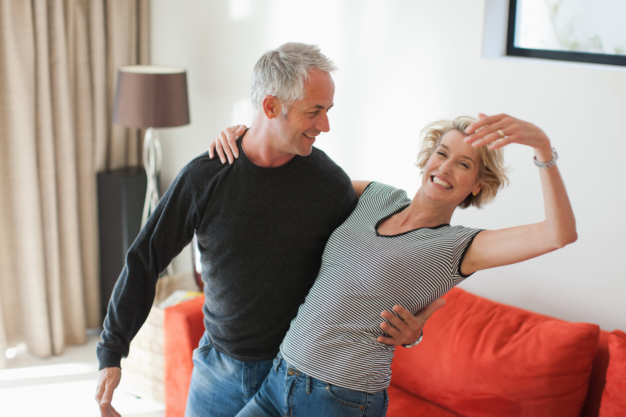Dancing Couple. Adult couple dancing as a form of therapy.