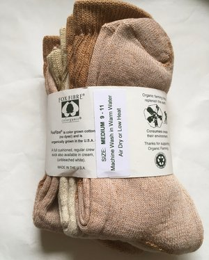 """Organic Threads Colorgrown Organic Cotton /""""No Shows/"""" Socks NEW Made in USA"""