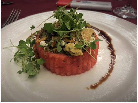The watermelon salad with balsamic walnut mint pesto and aged feta, topped with micro arugula was a show stopper!