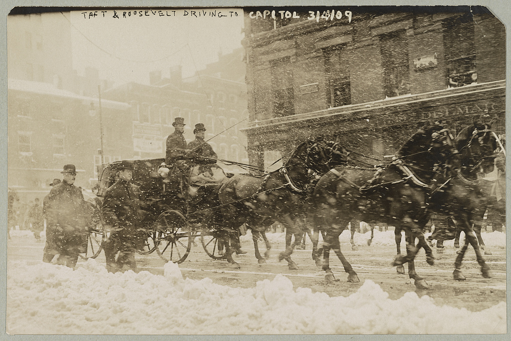 Taft & Roosevelt driving to Capitol