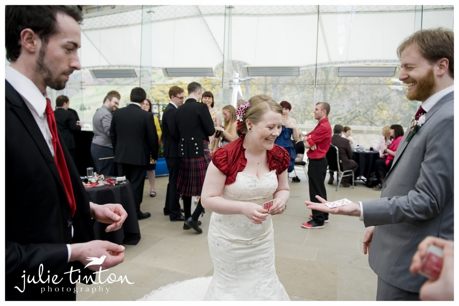 Entertaining bride and groom at a wedding drink reception at Our Dynamic Earth in Edinburgh. Renz has performed at several hundred weddings all over the UK.