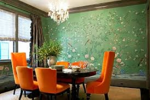 Green Dining Room, mural wallpaper, modern orange furniture. STUNNING!
