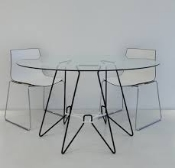 Modern Mushroom Dining Table Glass and Metal