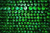 Green Bottle Accent Wall, fantastic way to transition a space/divider that still allows privacy while giving light.
