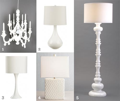 Introduce Polished Pearl with lacquered white lamps/lights. Modern and clean lines.
