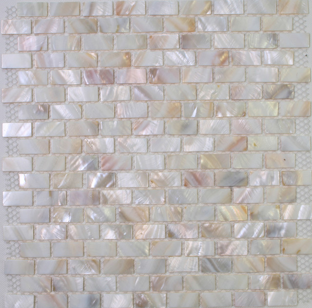 Close Up of the polished mother of pearl - Mosaic Tiles.