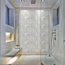 Bathrooms: Polished Pearl tile used as accent wall in shower.