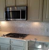 Kitchens: Pearl Mosaic tile used in kitchen back-splash.