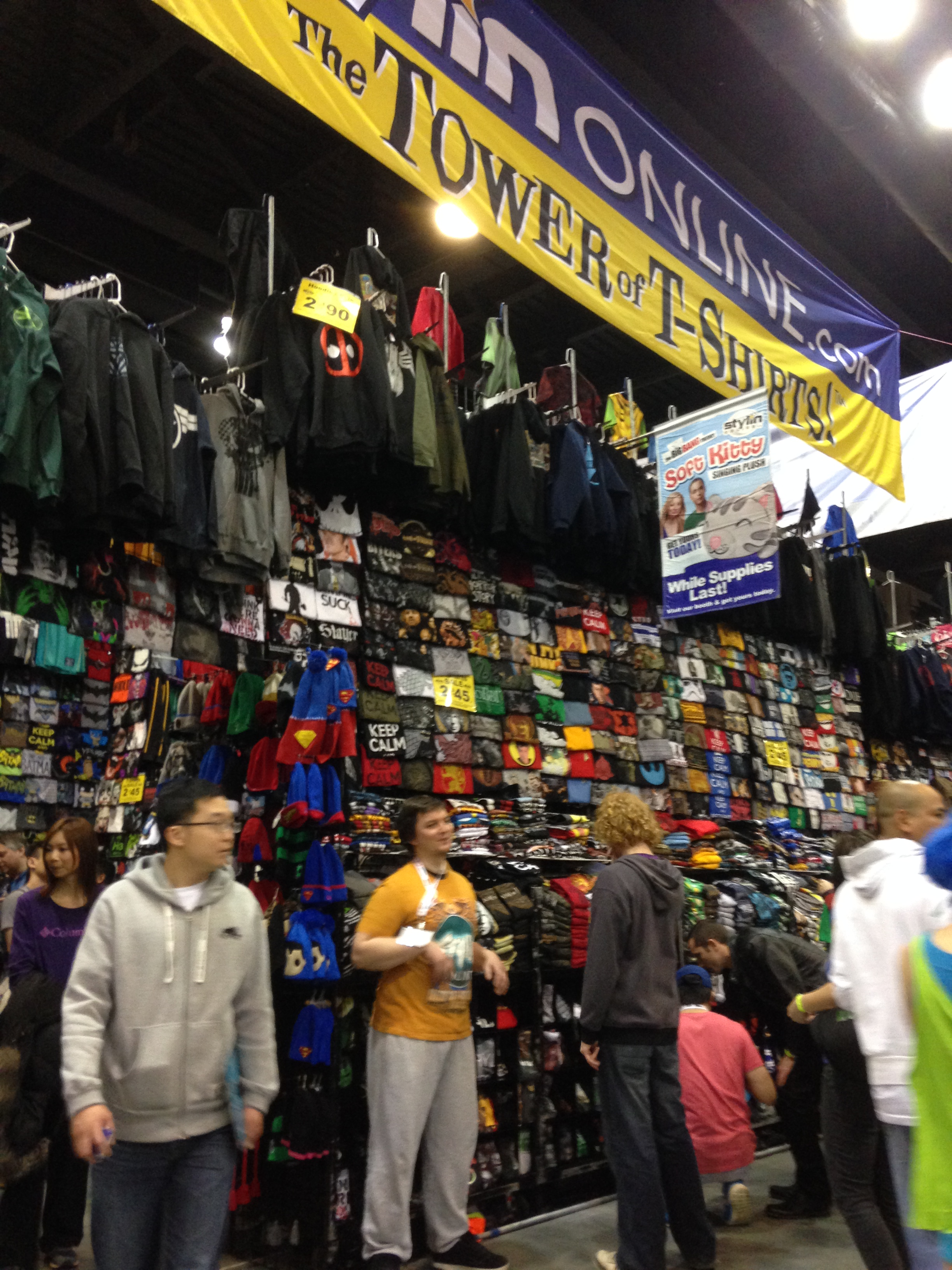 Need some garb......massive Tower of Shirts, Hats and more.