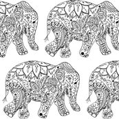 Spoonflower, Henna Elephants and you can COLOUR this one!