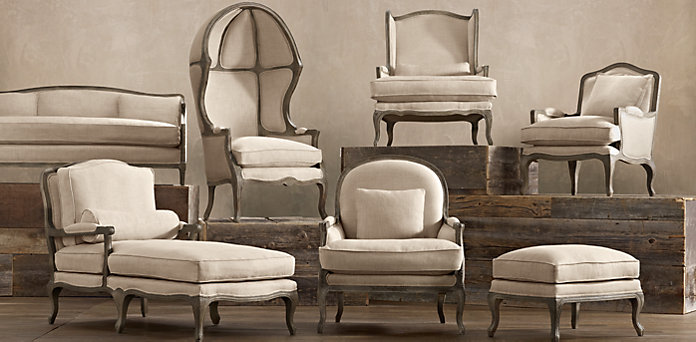 This would be the furniture style I would use in the room, Vintage French available from Restoration Hardware, Vancouver.   The lines are a fluid conversation between the wallpaper, and lighting! Stunning industrial, yet contemporary.