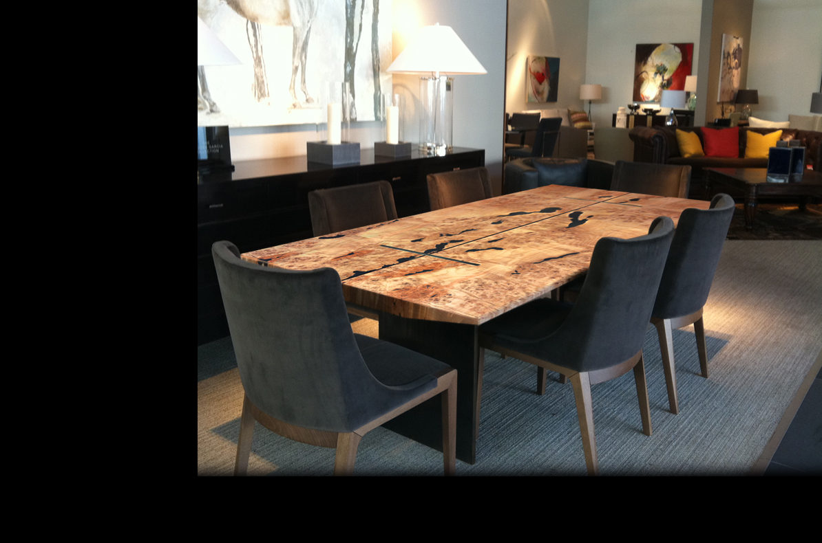 To introduce the west coast flavor, use woods and grains. This dining room table is custom made by Live Edge Designs Vancouver - BC.   Beautiful.....