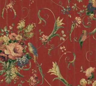 -deep burgundy, roses and birds.