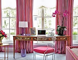A traditional home office feels modern with the #pink Ghost chair.