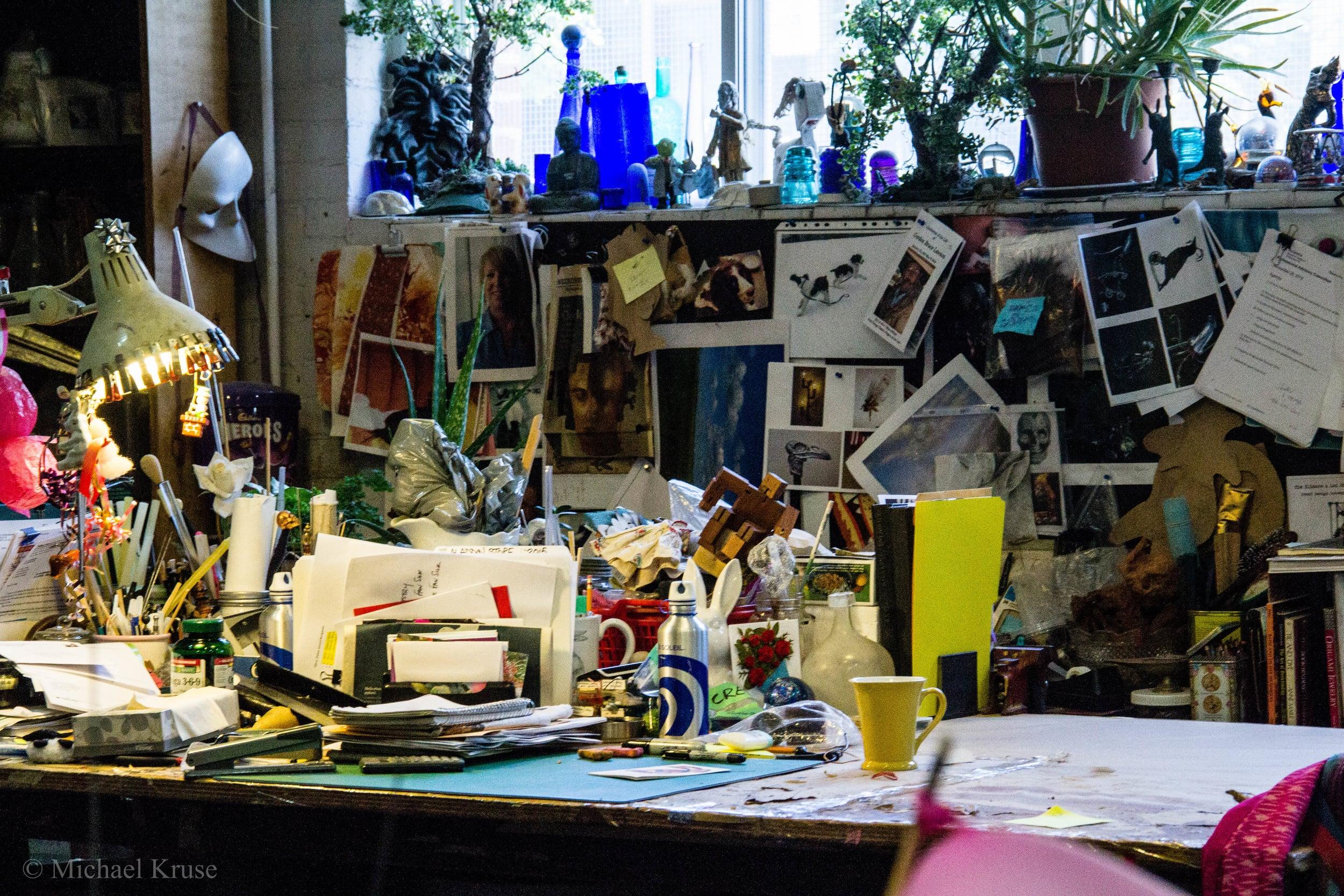 Fina's desk at The Rabbit's Choice