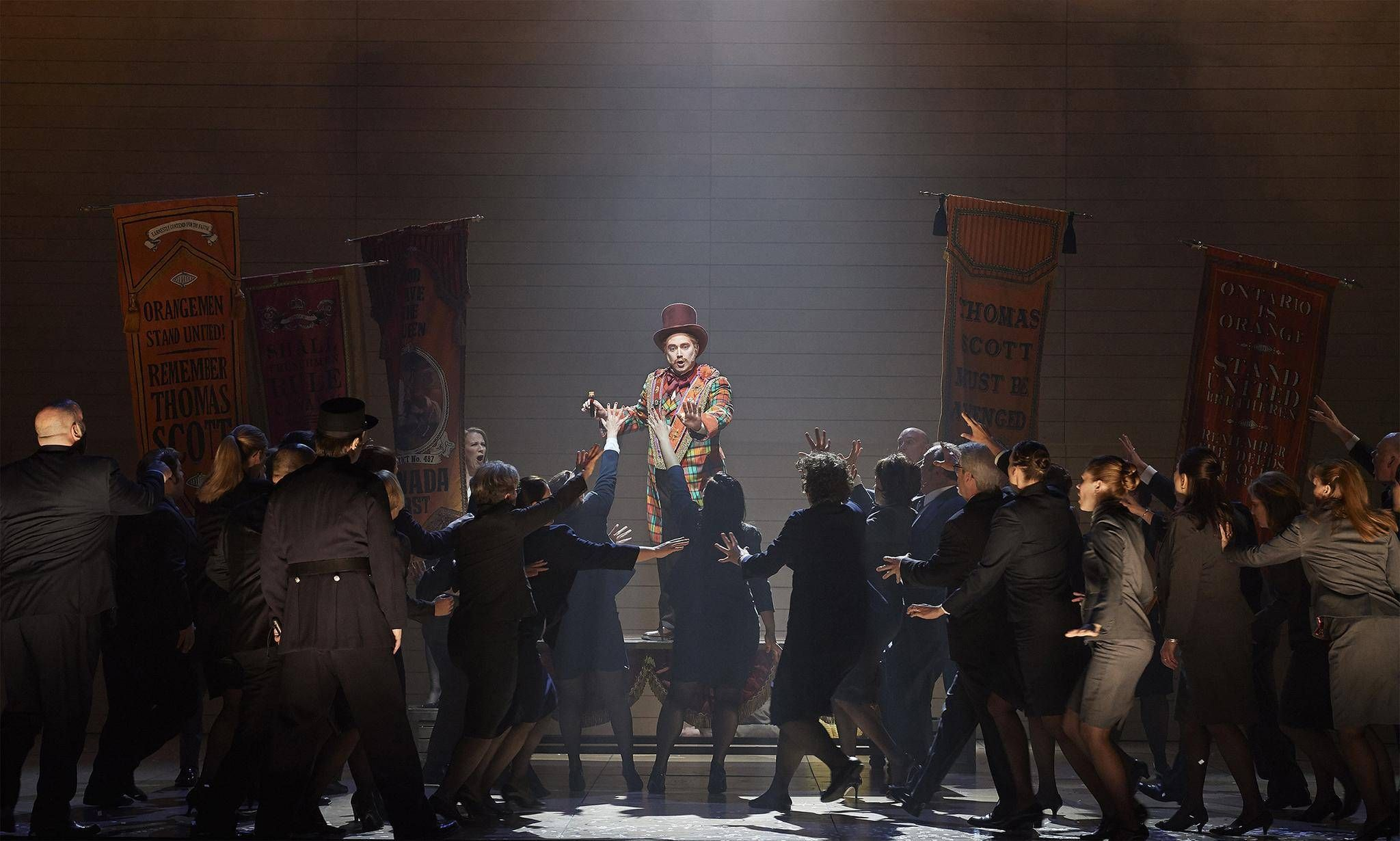 Louis Riel, Canadian Opera Company.Directed by Peter Hinton. Set Design by Michael Gianfrancesco, Costumes by Gillian Gallow, Lighting Design by Bonnie Beecher. Photo by Michael Cooper.