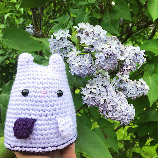 We're nearing the end of lilac season  but Rochester Lilac inspired tigers/cats last forever 💜 . . . #Handmade #Crochet #DumplingCat #Lilac #Rochester #OldLadyStatus #ROC #HomeTown