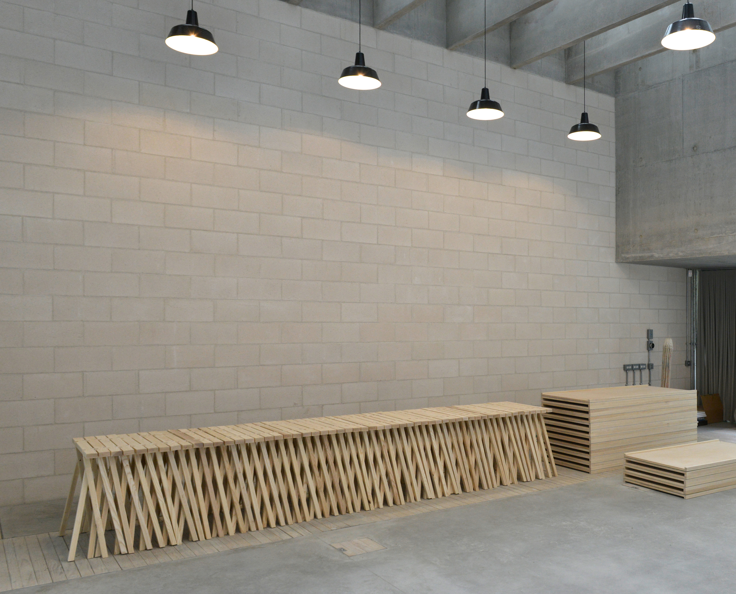 Trestles - Juergen Teller Studio  May 2016  Ash trestles and tabletops for Juergen Teller's beautiful new studio by 6a Architects