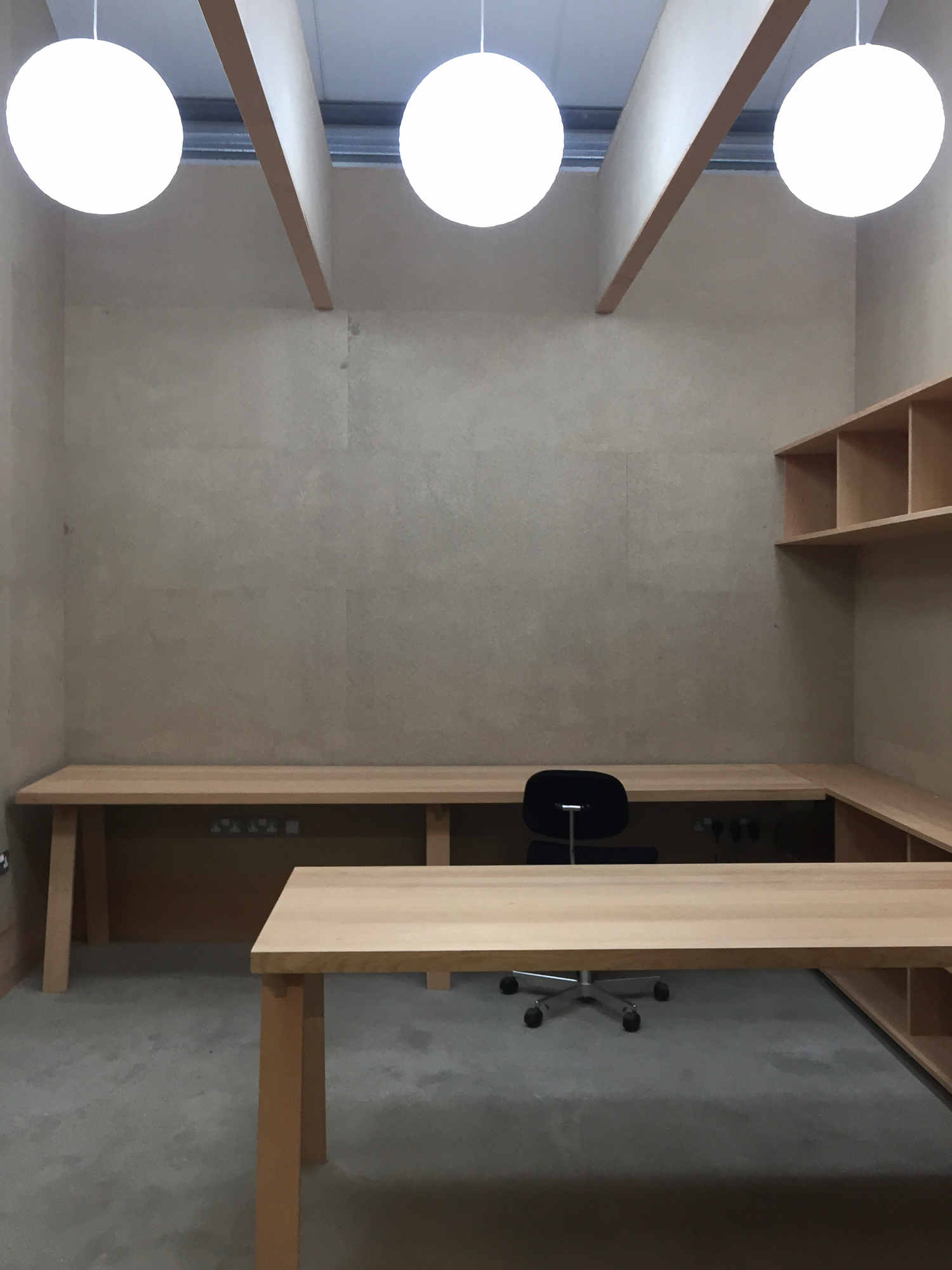 Niwaki offices and showroom  December 2016  The offices and showroom we designed for Japanese tool suppler Niwaki in Wiltshire are nearing completion. Vertical grain Douglas Fir timber and T&G chipboard panels.