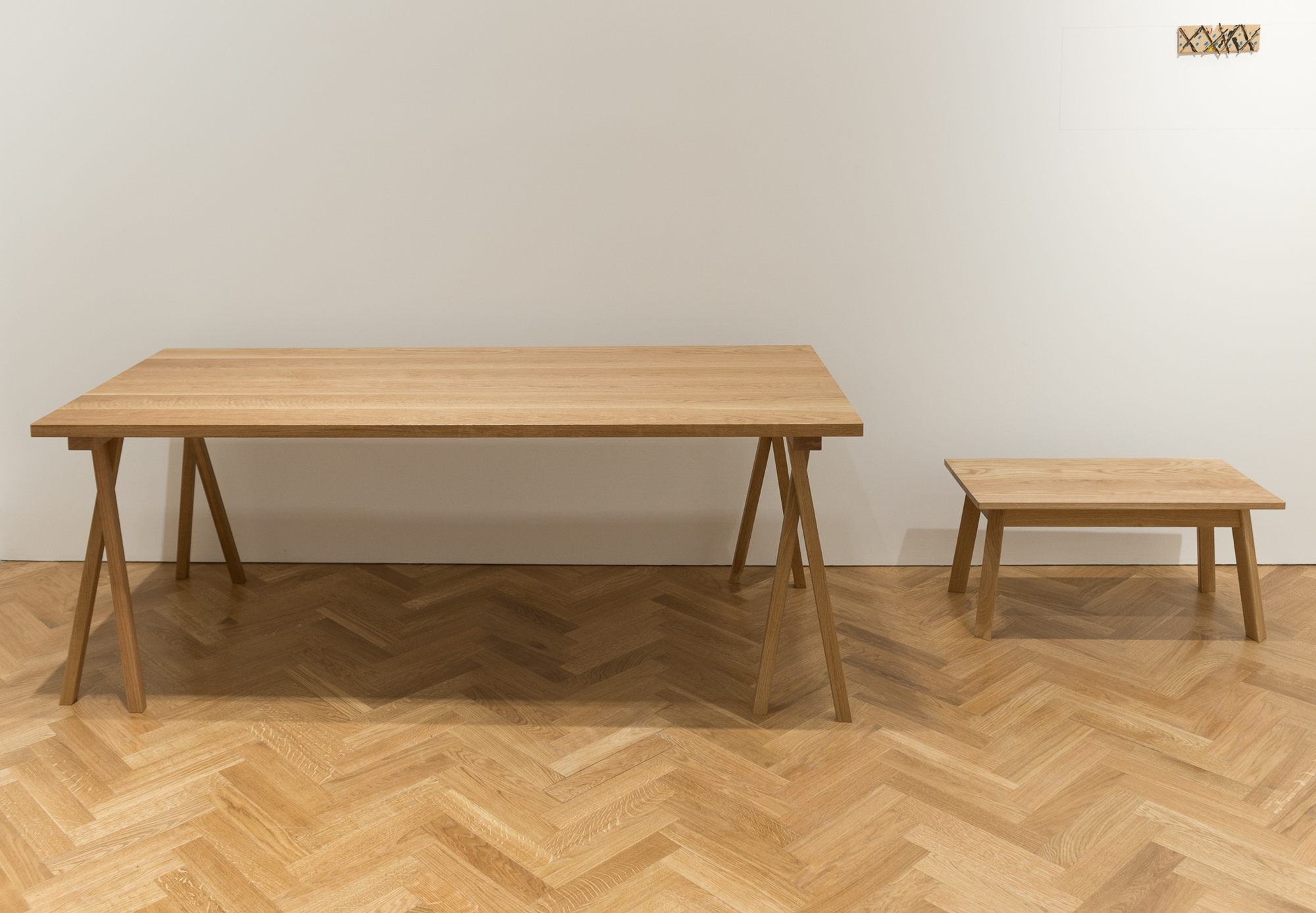 Oak coffee table and two trestles - Pace Gallery  April 2017  Solid oak trestle tables and triangle leg coffee table made for Pace's Mayfair gallery.