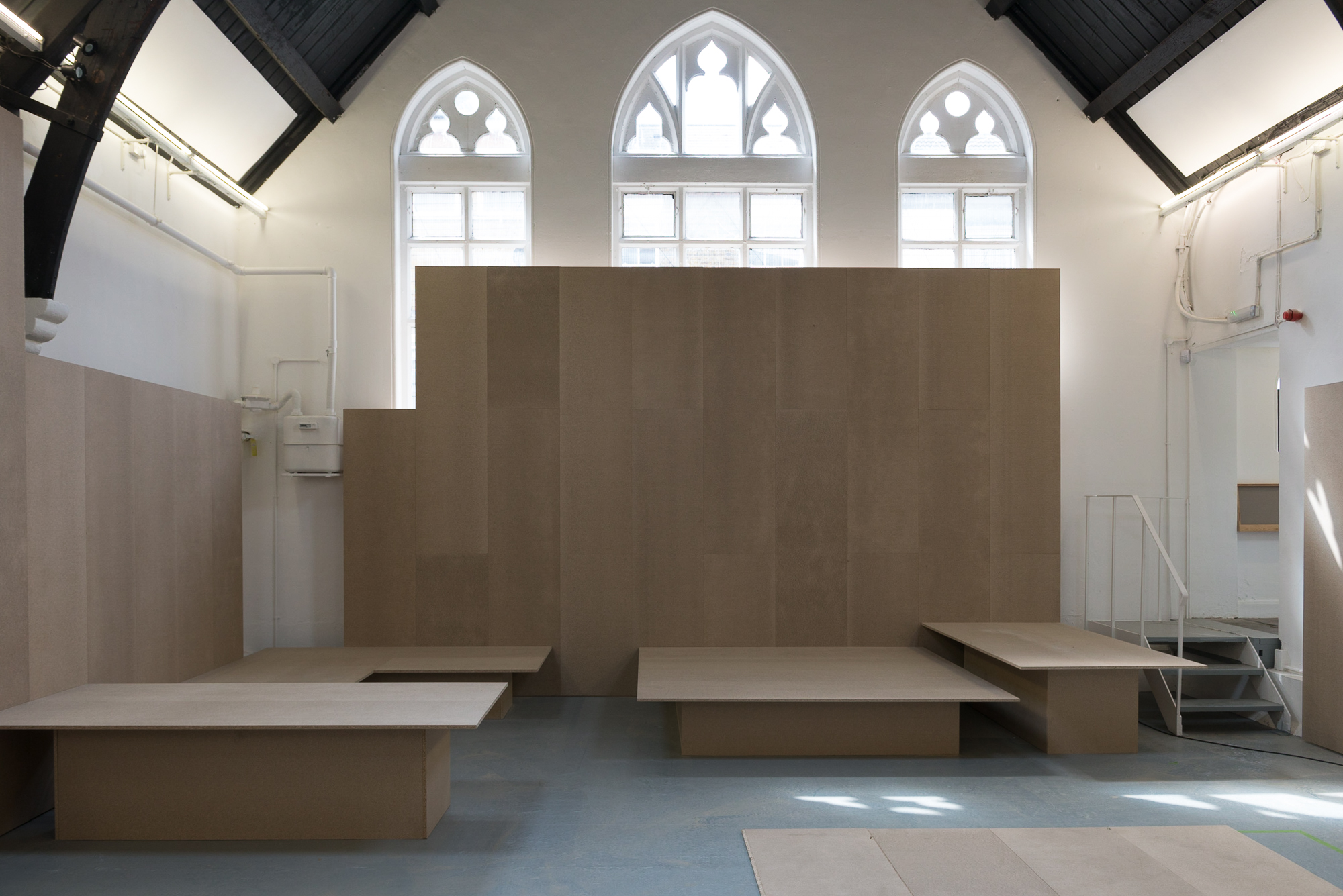 John Sheehy - Studio Voltaire  April 2017  An 'in progress' shot - the exhibition design called for an honest approach to materials and an alternative to a traditional hang - as well as requiring the display of a large quantity of varied works. The exhibition continues until 25 June 2017.