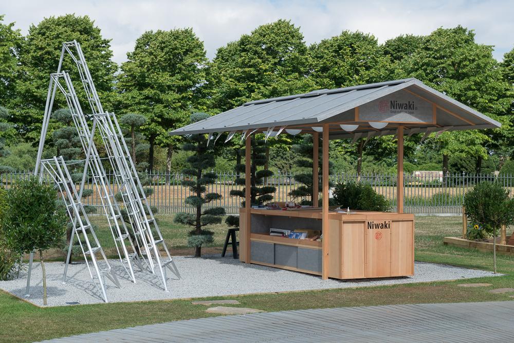 Niwaki Pavilion, RHS Hampton Court Show  July 2017  The 2nd outing of our Douglas Fir and Fleece membrane clad pavilion designed and built for Niwaki at Hampton Court show last week.