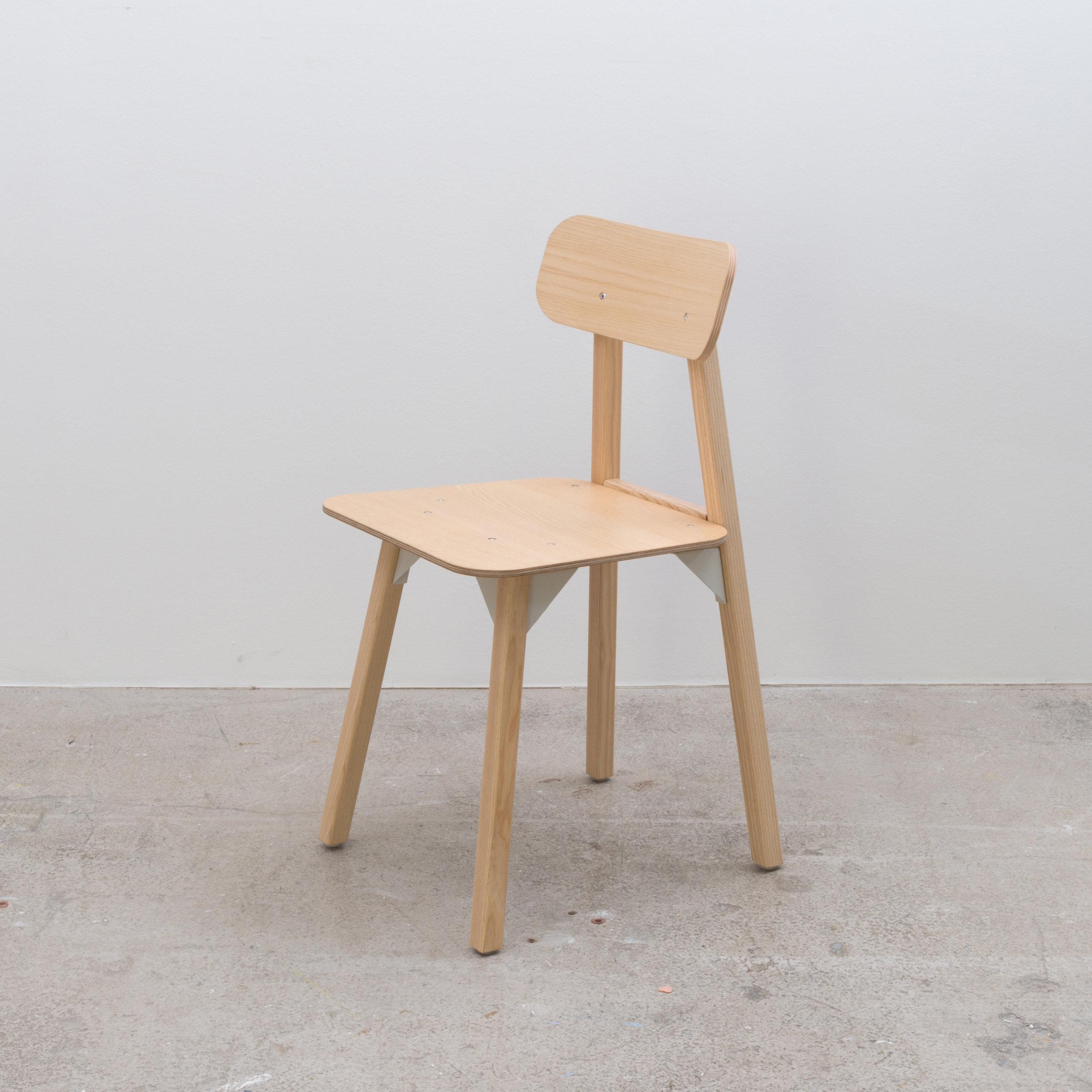 Ash and Ash veneered ply chair. 405 x 490 x 780H