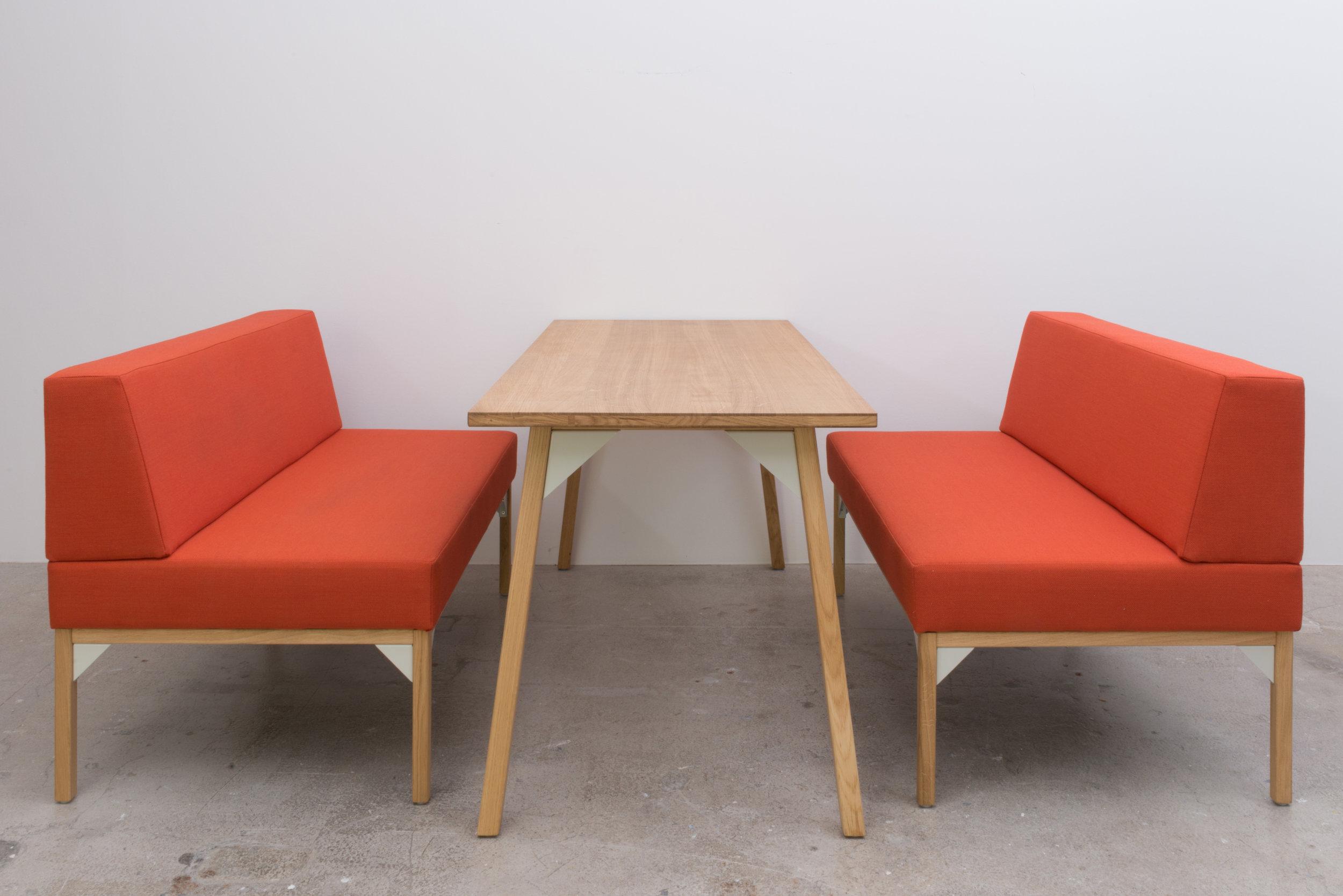 Banquette Seat 1200 x 680 x 800H. Table 1550 x 700 x 740H. Oak & Kvadrat Steelcut