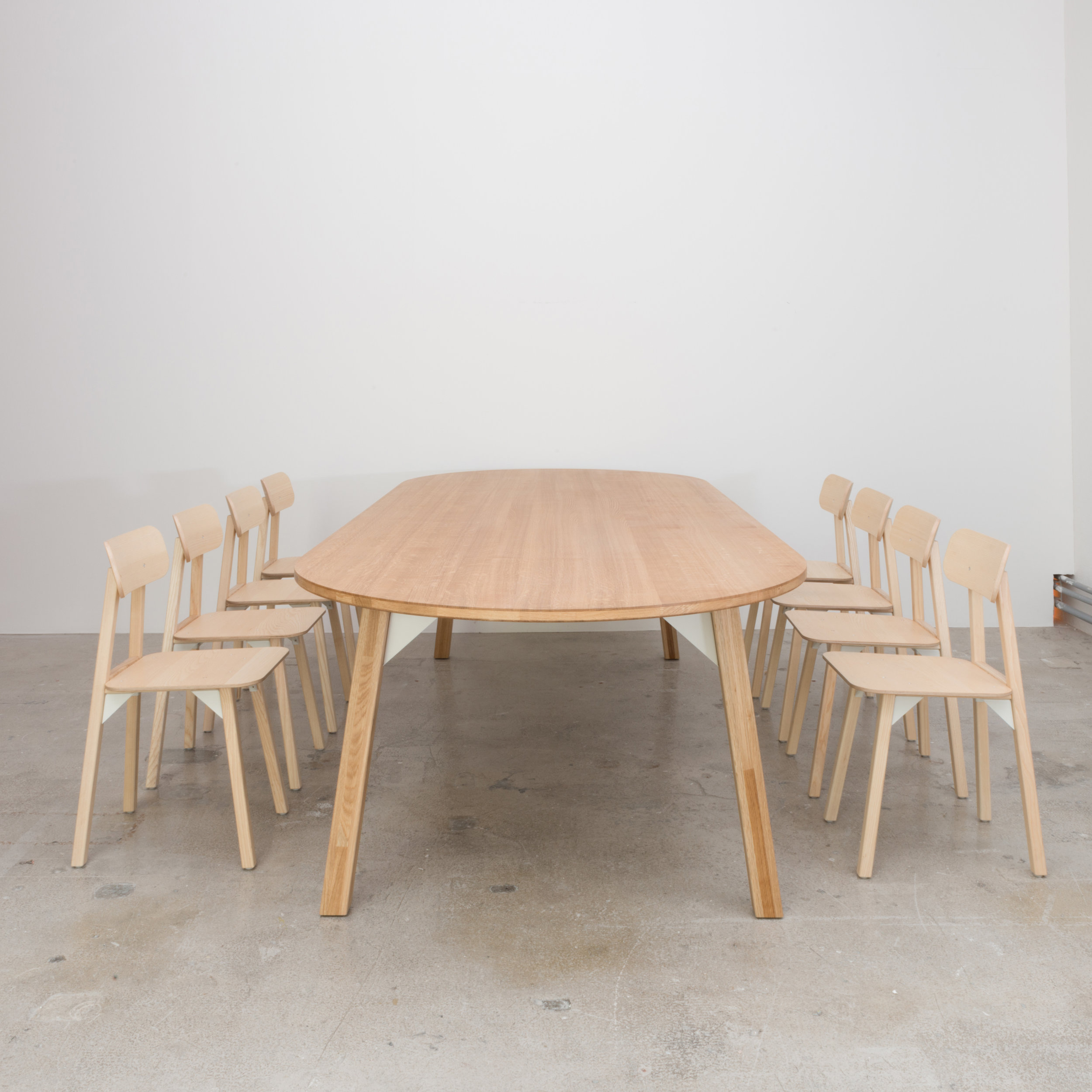 Oak Table 3000 x 1000 x 740H and Ash chairs