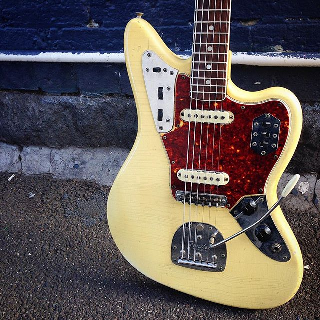 1965 Fender Jaguar White w/matching headstock  #fenderjaguar #fenderusa #fender #jaguar #white #vintage #1965 #frettedinstruments #melbourne