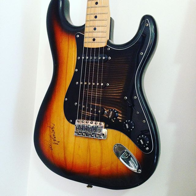 1976 Fender stratocaster in beautiful condition . Signed on the neck and body by Allan Holdsworth late and great British guitarist best known of his work in Jazz fusion