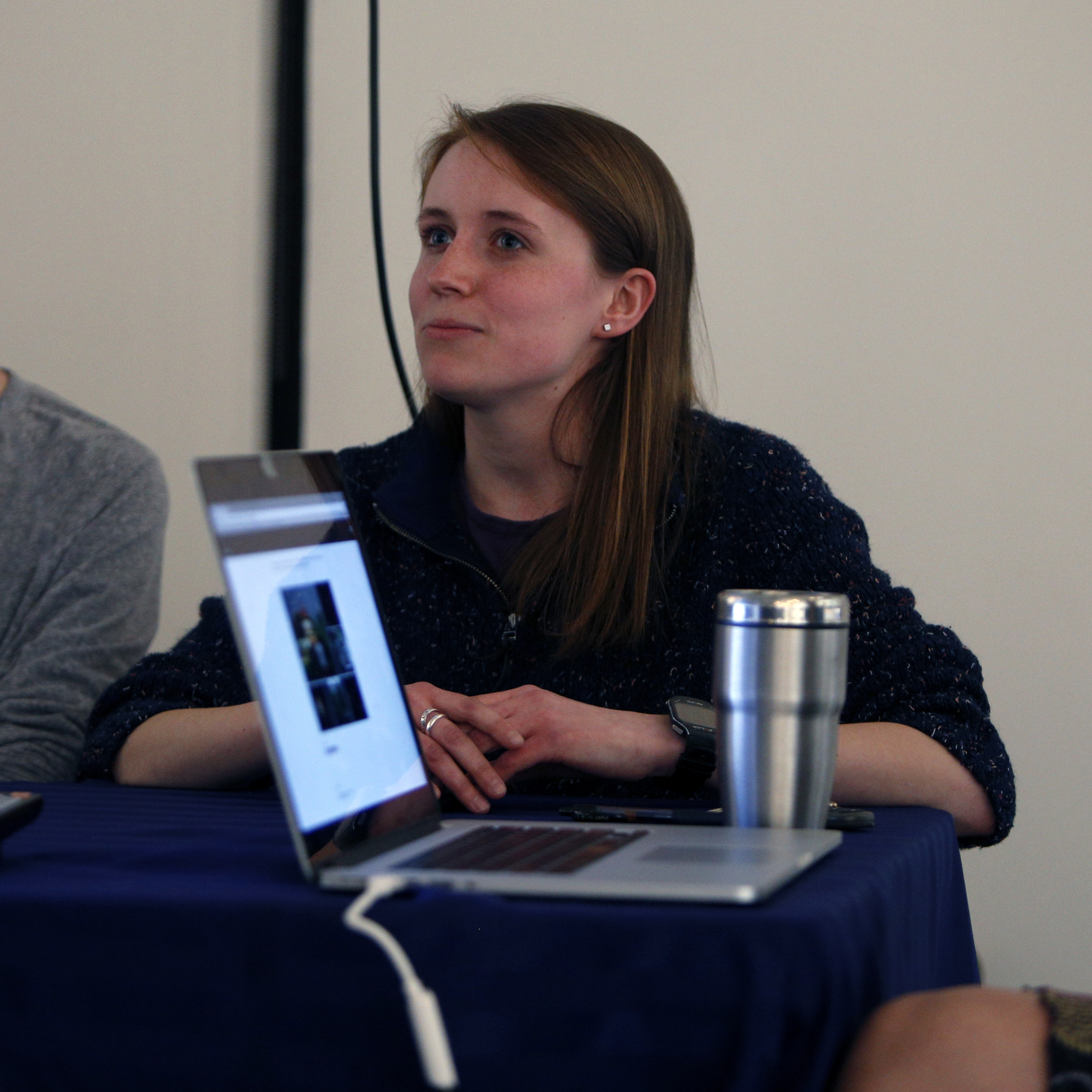 """I describe partof the process of developing""""Everything is Good."""" Thankfully, my face didn't get any redder than picturedduring the discussion. Photo credit: Tom Brenner"""