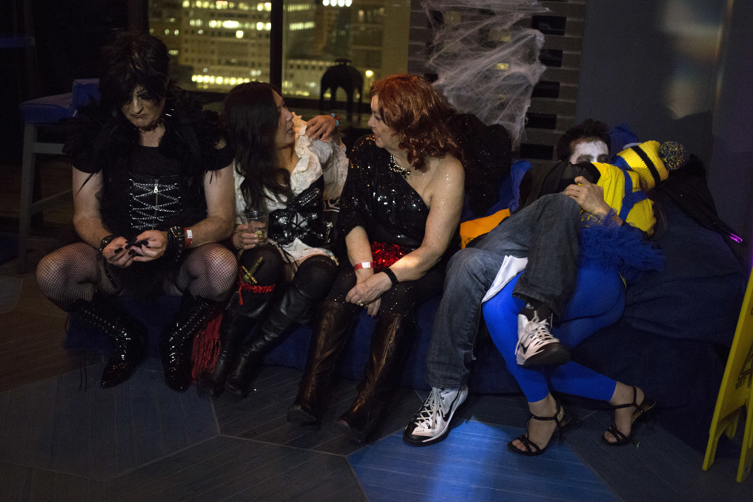 Partygoers at the Undead Disco Virgin Hotels Halloween Party on October 31, 2015, in Chicago, IL.