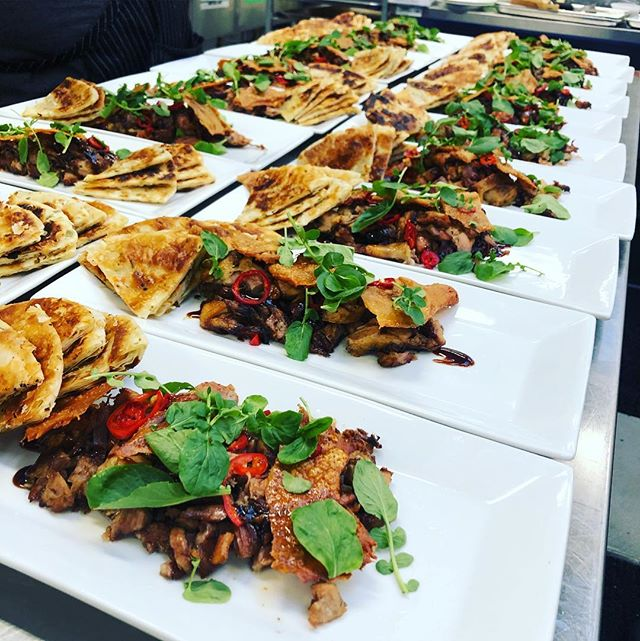 Duck carnitas with soy hoisin glaze, pickled Fresno and scallion pancakes. . . . #eeeeeats #catering #duck #food #yummy #events #weddings #yummy #foodie #losangeles