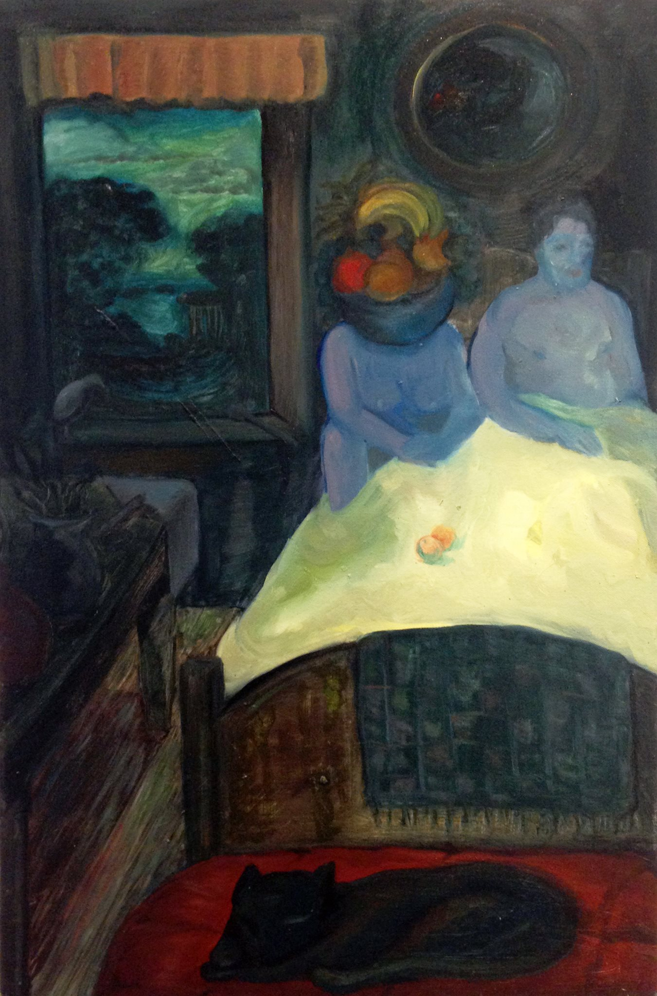 Two figures and bowl of fruit.