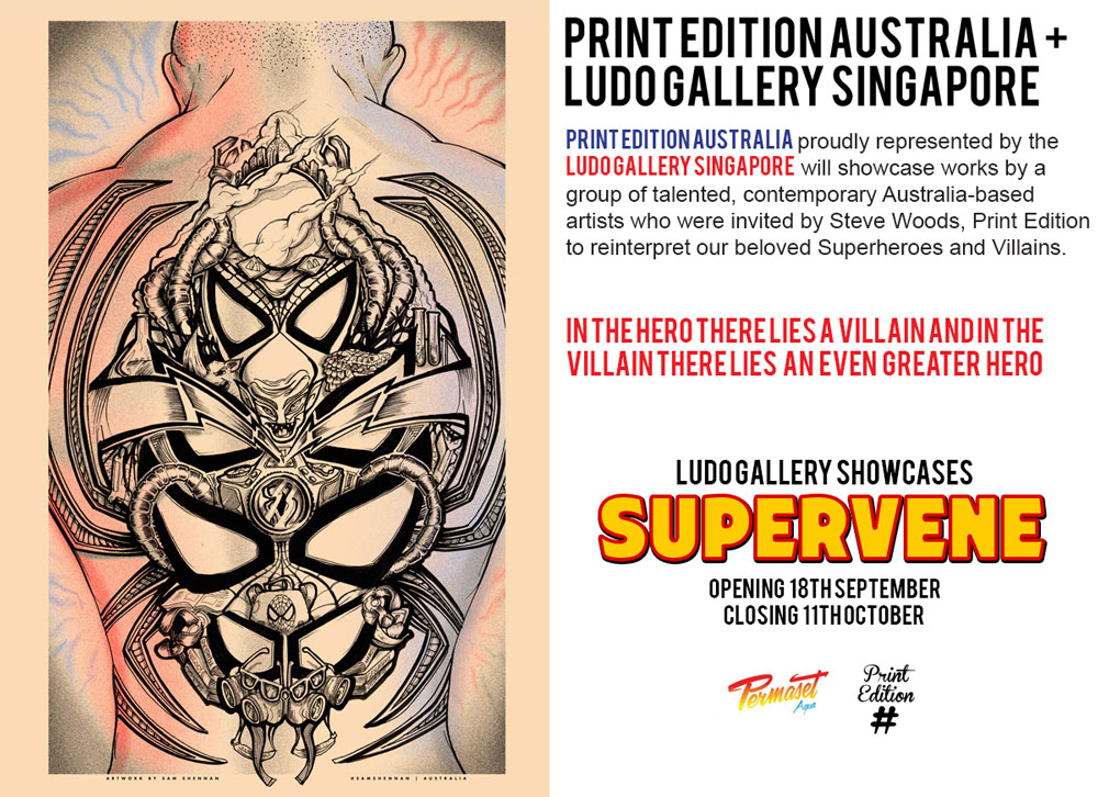 Spiderfan-sam-shennan-spiderman-poster-screenprint-exhibition-flyer-ludo-gallery-singapore