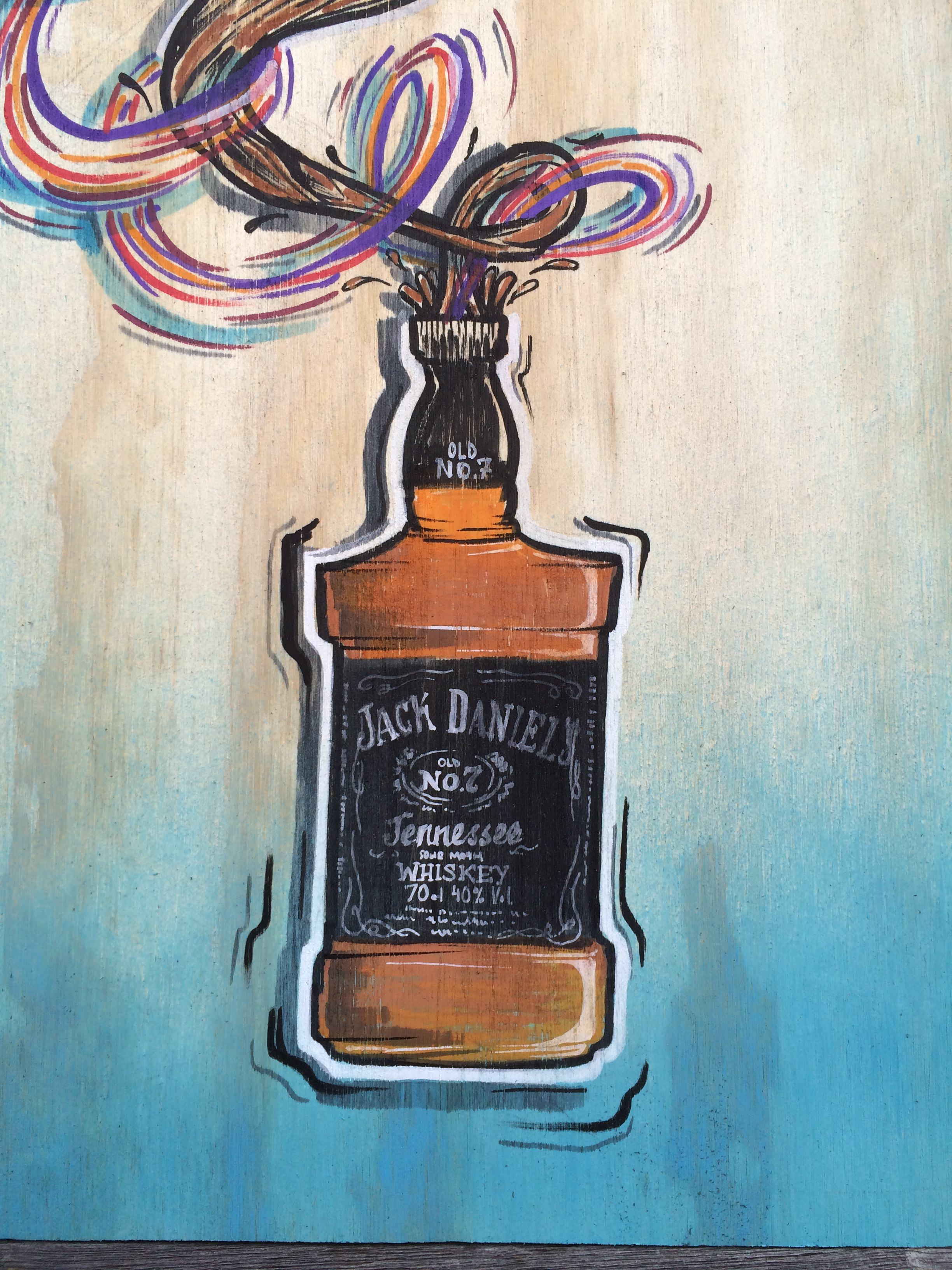 Jack-Daniel's-birthday-bar-that-jack-built-sam-shennan-samshennan-whisky-painting-artwork-geanie-sydney-painter-artist-muralist-1-closeup-of-bottle