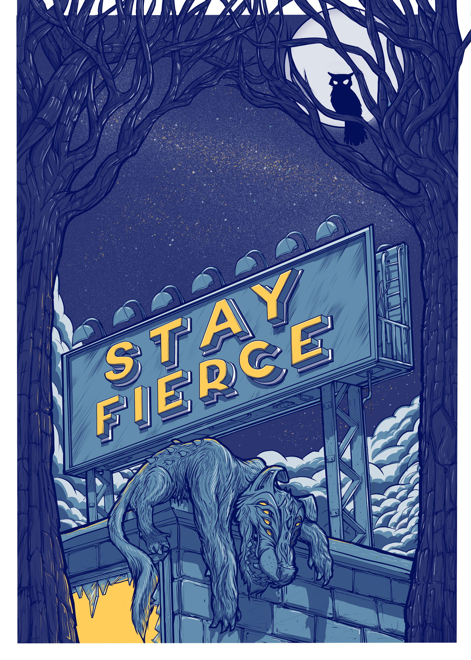 Stay Fierce, motivational illustrated poster design