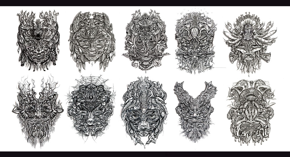 masks-visionary-art-trippy-tribal-shaman-psychedelic-intricate-hand-drawn-faces-portrait-commission-maker-local-animal-costume-festival-social