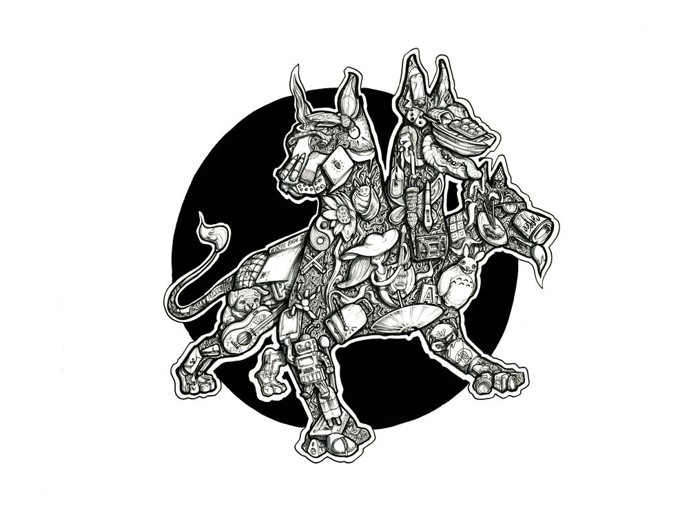 Cerberus illustration artwork intricate black and white surrealism