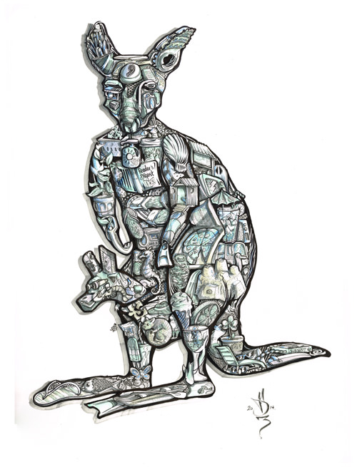 Beach house mascot kangaroo illustration commissioned surreal intricate drawing as gift