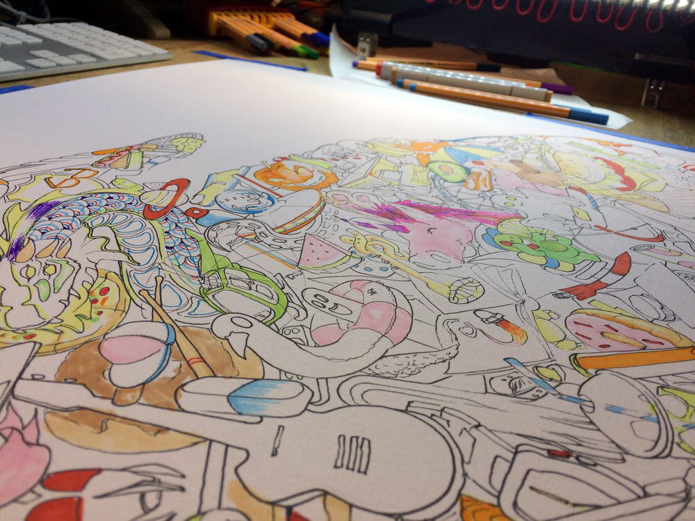 In progress ink drawing for bright colourful psychedelic kids imagination artwork