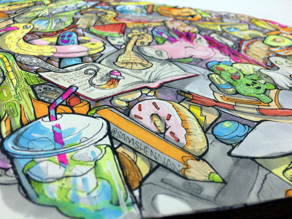 Angled close up of bright colourful psychedelic illustration of cheery kid's imaginative dreamscape.